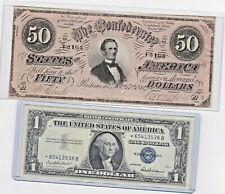 $50 CSA 1864 Confederate Currency T66 Bank Note  & 1957 $1 Silver Star Note lot