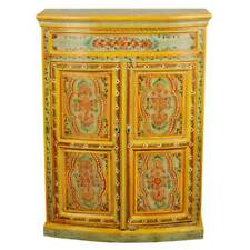 Handmade Hand Painted Mango Wood Storage Console Hall Sideboard Cabinet