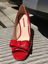 Prada Red Patent Leather Peep Toe Wedges Size 39 Italy