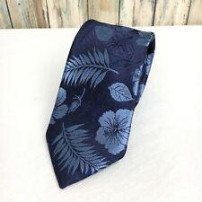 "Mens Express Neck Tie Slim Skinny 100% Silk Blue Tropical Floral 2.25"" NWT"