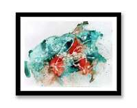 Blue orange abstract - original ink abstract painting unique gift ID : 1330