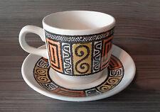 Vintage 1960's 70's Biltons Cup & Saucer - Retro Pale Olive & Orange Design