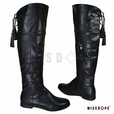 NEW BLACK TASSEL KNEE THIGH HIGH BOOTS FAUX LEATHER WOMENS LADIES RIDING BLOCK