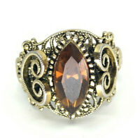 Edwadian Style Gold Tone Filigree Heart Floral Statement Ring Rhinestone Vintage