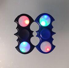 2 X Light Up Batman Black & Blue Fidget Finger Spinner Stress Reliever