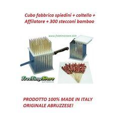 Cubo fabbrica spiedini arrosticini + coltello + affilatore + 300 stecconi