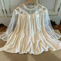 L Boho White Lace Romantic Peasant Blouse Vtg 70s Insp Top Women's LARGE NWT