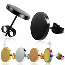 1 Pair Stainless Steel Mens Womens Black Cheater Plugs Stud Earrings  3mm-12mm