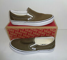 VANS Ladies Classic Slip On Casual Khaki Trainers Shoes RRP £55.00 New UK Size 8
