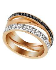 "SWAROVSKI - ""Hero"" 18k Rose Gold-Plated Black & Clear Swarovski Crystal Ring NIB"