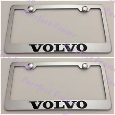 2X VOLVO Stainless Steel License Plate Frame Rust Free W/ Boltcap