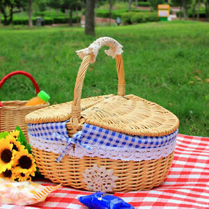 Shopping Storage Hamper Wicker Straw Picnic Basket Easter Candy Box With Cover