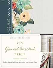KJV, Journal the Word Bible, Hardcover, Green Floral Cloth, Red Letter...