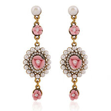 Retro Women Baroque Floral Pearl Drop Dangle Stud Earrings