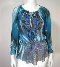 Mushka by Sienna Rose Long Sleeve Blouse Size L Large Blue Floral Embroidered