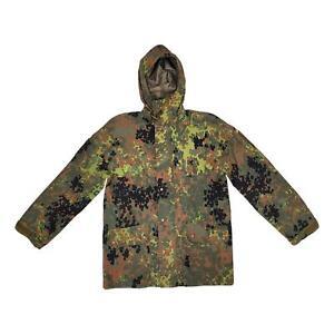 Original German Army Waterproof Goretex Jacket Flecktarn Camo Hooded Raincoat