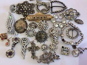Job Lot Vintage Antique Broken Jewellery Glass Paste Brooch Earrings Buckles