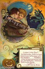 Fabric Block Halloween Vintage Postcard Image Lovers