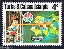 WALT DISNEY UN FRANCOBOLLO TURKS & CAICOS ISLANDS PINOCCHIO 4c nuovo
