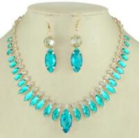 Vintage rhinestone crystal Jewelry set new Necklace Earrings Women free shipping