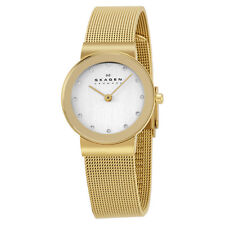 Skagen Women's 358SGGD Mesh Band Silver White Dial Watch