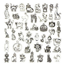 Mix Charms 42pcs/lot Vintage Silver Cute Animal Cat Pendant DIY Jewelry Making