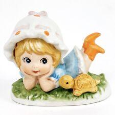 Lefton Girl with Bonnet and Turtle Ceramic Bisque Figurine Vintage 00869