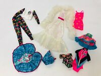 Vintage Barbie Doll Clothing Lot Crystal Dress with Boa Troll Outfit 1980s 1990s