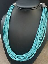 Turquoise Bead Necklace 20 Inch Native American Sterling Silver Blue