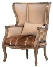 """33"""" W Luce Occasional Chair Woven Rattan Detail Cowhide Leather Carved Wood"""