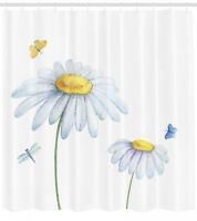 Dragonfly Shower Curtain Chamomile Soft Nature Print for Bathroom