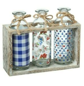 The Pioneer Woman PW Classic Charm 3 Glass Bottle Decor Wood Storage Holder Vase