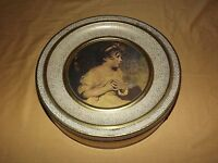 VINTAGE KITCHEN  USA GUILDCRAFT SUNSHINE BISCUITS VICTORIAN CHILD GIRL ROUND TIN