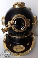 Vintage EE. UU. Navy Mark V Buceo Divers casco de acabado de latón sólido Acero Negro O