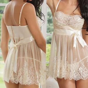 Sexy-Lingerie-Women's-Lace-Sleepwear-Sheer-Teddy-Babydoll-Nightwear-Nightdress