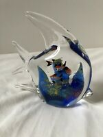 Beautiful Blown Glass Angel Fish Art Glass Cobalt Blue with Little Fish Aquarium