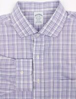BROOKS BROTHERS Men's 17 - 34 Purple White Check Regent Long Sleeve Dress Shirt