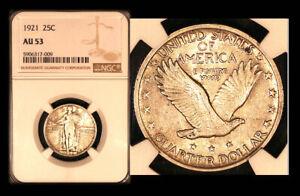 1921 25C AU53 NGC-Tough Date-Standing Liberty Quarter