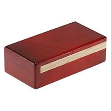 """PUZZLE MASTER Wooden SECRET OPENING BOX 2 Difficulty 6 RED+NATURAL 5.5"""" x 3"""" New"""