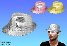 Chapeau brillant à paillettes pour fêtes, déguisement,  .... argenté