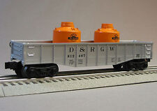 LIONEL D & RGW GONDOLA CANISTERS train car O GAUGE freight train 6-25942 G NEW