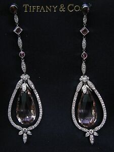 Tiffany & Co Platinum Morganite Pink Tourmaline Diamond Drop Earrings 32.76CT