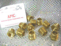"Brass HEX Bushing Reducer 1/2"" NPT Male x 3/8"" NPT Female Pipe Threads"