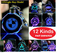 Car Logo Keychain Crystal Light Changing Car keyring Color LED Light Gift Box UK