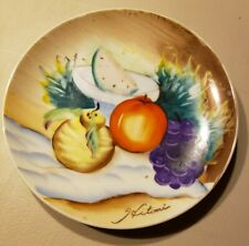 """Hand Painted Porcelain Ceramic 8"""" Plate Fruit Pear Apple Signed Hitomi Japan"""