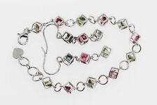 925 Sterling Silver Colors of Tourmaline Earring / Bracelet (7.65 cts)