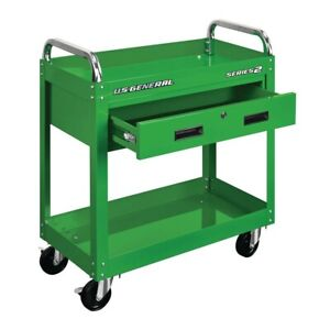 "30"" Service Cart w/Drawer, Ball Bearing Slides/4"" Casters/Choice Of Four Colors"