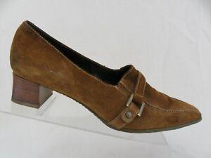 ECCO Suede Brown Sz 7.5 (38 EU) Women Kitten Buckle Heels
