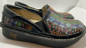 Alegria Debra DEB-309 Multicolor Leather Slip-On Clogs Shoes Womens Size 39 US 9
