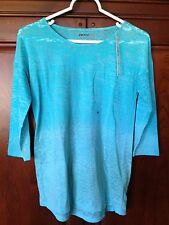 New Women's Aqua DKNY Sheer 3/4 Length Sleeve Shirt Size M  MSRP $39